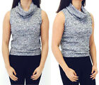 New Womens Ladies Grey Rib Cowl Neck Sleeveless Ribbed Knitted Top T-Shirt 8-14