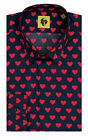 Noose & Monkey Navy Shirt with Red Heart Pattern