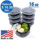 "16oz Meal Prep 6"" Round Food Containers with Lids, Microwavable Plastic BPA free"