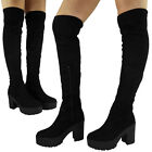 Womens Ladies Thigh High Heel Boots Over The Knee Party Long Strtch Shoes Size