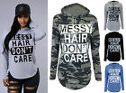 New Womens Ladies Messy Hair Dont Care Print Melange Loungewear Hoodie Top 8-14