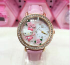 Women Lady Girl soft ceramics PINK Hello Kitty Syn leather Wrist Watch Gift her