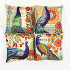 Vintage Peacock With Flower Cotton Linen Car Sofa Waist Pillowcase Cushion Cover