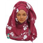 TheHijabStore Cotton Maxi Embroidered White Scroll Flower With Frayed Edges