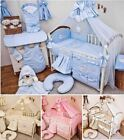 LUXURY COT COT BED BEDDING SET 3 6 10 15 PIECE PILLOW DUVET BUMPER CANOPY HOLDER