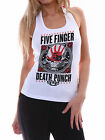 Five Finger Death Punch FFDP Women White Graphic Tank Top Singlet Size XS-2XL 2