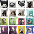 Funny French Bulldog Cotton Linen Pillowcase Car Sofa Cushion Cover Home Decor