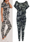 New Womens Ladies Camouflage Army Print Loungewear All In One Jumpsuit  8-14