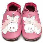 Inch Blue Girls Luxury Leather Soft Sole Baby Shoes - Unicorn Rose Pink