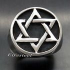 Men's Boy's Silver Star of David 316L Stainless Steel Ring