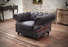Brand New 1 Seater Studded Flag Chesterfield Brown Leather Sofa