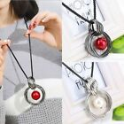 Women Round Pearl Statement Pendant Long Sweater Chain Chunky Necklace Beauty