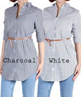 D2D Women's Junior Size Casual Button Down Included Belt Stripe Roll up Shirts
