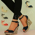 NEW LADIES WOMENS HIGH HEEL WEDGES ANKLE STRAP PLATFORM SUMMER SHOES SIZE UK 3-8