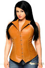 Women Sexy Fullbust Top Drawer Steel Boned Leather Collared High Waist Corset