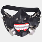 Padded PU Mask with Copper Spikes Punk Black