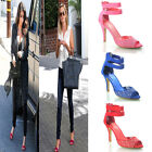 NEW WOMENS LADIES MID HEEL SUEDE DESIGNER EVENING PARTY CELEBRITY SANDAL SIZE