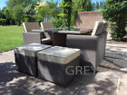 RATTAN CUBE SET 4/8 SEATER ALUMINIUM GARDEN FURNITURE GREY RATTAN TABLE
