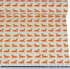 Orange Black and White Foxes Linen Look High Quality Fabric Material *3 Sizes*