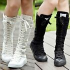 EMO PUNK ROCK Canvas Boot Women Gril Sneaker Flat Tall Lace Up Knee High Shoes