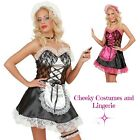 Maid Costume Black with Pink or White  4 Piece  Size 10-12