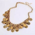 Girl Fashion Vintage Coin Gold Silver Plated Chain Chunky Satement Necklace
