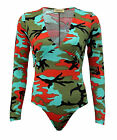New Women Ladies Army Camouflage Print Bodysuit Ruched V Neck Sexy Leotard Top