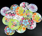 """30pcs 1-1/4"""" 30mm Painting Multicolor Wood Buttons For Sewing Scrapbook Choose"""