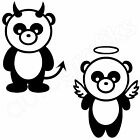 2x PANDA BEARS / GOOD & EVIL PANDAS / Kitchen Lounge Wall Art Stickers (A5)