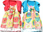 BN*GIRLS** SMOCKED  FLORAL  LAYERED  CHIFFON  DRESS  WITH***DETACHED SHRUG***