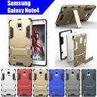 TPU Case Cover Samsung Galaxy Note4 Iron Man Armor Shockproof Heavy Duty Stand