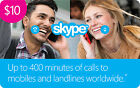 Skype Credit $10 / $25 / $50 -  Call, Text, Wifi hotspots     <br/> US Only. May take 4 hours for verification to deliver.