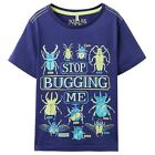 *BNWT* Joules Jnr Boys Ray Blue Print Stop Bugging Me Glow In The Dark T-Shirt