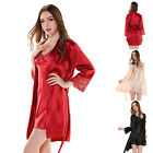 Women Sexy Lace Pajamas Set Chemise Robe Nightdress Slip Dress & Coat