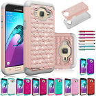 Hybrid Rugged Rubber Armor Bling Crystal Case Cover for Samsung Galaxy J3 (2016)