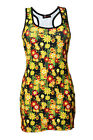 Women's Retro Colourful Summer Flowers Wild Meadow Floral Long Vest Tank Top Tee