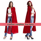 Cosplay Hooded Cloak Vampire Cape Halloween Party wedding RED BLACK PURPLE