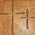 Barbed Wire Loop Cross 18 and 12 in. handmade rustic wall hanging antique wire