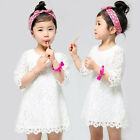 2-7Y Summer New Baby Girls Lace Dresses Children Half sleeve floral tight dress