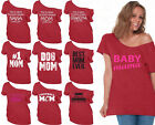 60 DESIGNS Mother's Day Off Shoulder Top T-shirt Mom's Gift RED-5