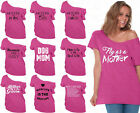 60 DESIGNS Mother's Day Off Shoulder Top T-shirt Mom's Gift PINK-3