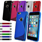 For Various Apple iPhone Slim Soft Silicone Gel Case Phone Cover + Film + Stylus
