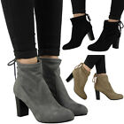 NEW WOMENS LADIES PULL ON TIE BACK MID BLOCK HEEL WORK ANKLE BOOTS SHOES SIZE