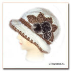 New Fashion CROCHET CHEMO WINTER HAT BEANIE W FLOWER PIN / White Q113