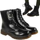 LADIES WOMENS REAL LEATHER COMBAT ARMY MILITARY LACE UP FLAT ZIP ANKLE BOOTS SIZ
