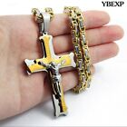 Men stainless steel Gold Silver Black jesus cross pendant chain necklace USA