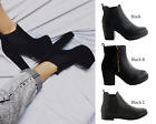 LADIES WOMENS PLATFORM SUEDE MID HIGH BLOCK HEEL CHELSEA ANKLE BOOTS SHOES SIZE