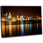 Canvas Print - Liverpool Skyline Across The Mersey At Night Framed Art Picture