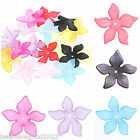 15  LUCITE PLASTIC FROSTED LONG PETAL FLOWER BEADS 27mm Jewellery Making Crafts