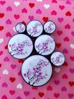 Pair of Pink Flower Blossom Plugs Tunnels Gauges- 6mm - 25mm